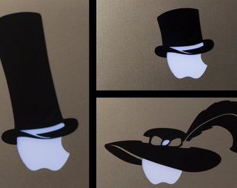 Fancy Hats for your Apple Logo - Top Hat, Tall Top Hat, Debonair Sun Hat With Feather