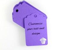 Personalized Oversized Birthday Banner - Pastel Cupcake - Birthday Gift Custom Purple Cupcake Tags Set