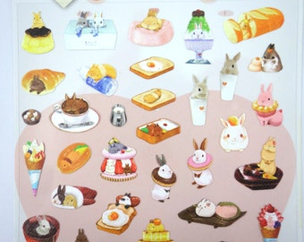 Super kawaii bunny rabbit dessert paper stickers - super cute bunnies - adorable bunny food