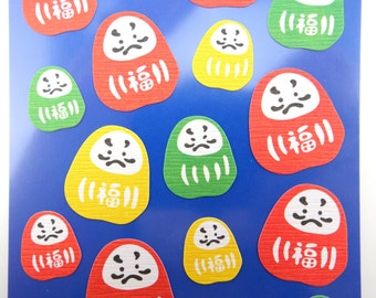 Japanese Daruma doll chiyogami paper stickers - beautiful traditional dharma dolls - yuzen - kawaii doll - Bodhidharma - zen buddhism