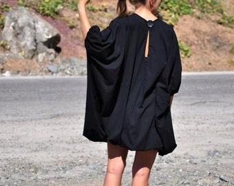Oversize Black Loose Dress / Black Loose Tunic / Black Long Sleeveless Dress