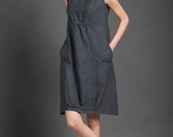 Pure linen dress, dark gray dress for summer, woman dresses for summer, midi dress, linen clothing, linen clothes, summer fashion, organic