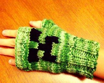 Pair of Minecraft Creeper Fingerless Gloves, mixed green yarn, hand knitted, winter gloves