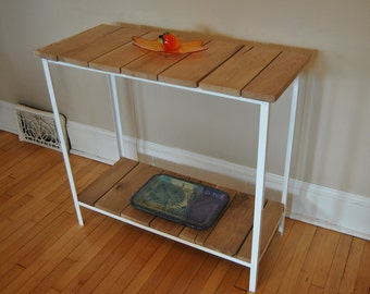Hall Table, Entryway Table, Recovered Central Wisconsin White Oak and Steel