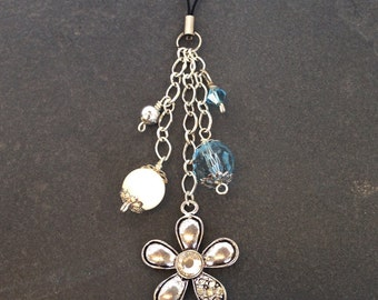 Metal & Diamante Flower Blue White Beaded Bag Charm Purse Charm, Gift for Her, Mother's Day