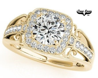 Moissanite Engagement Ring 14kt Yellow Gold #6868