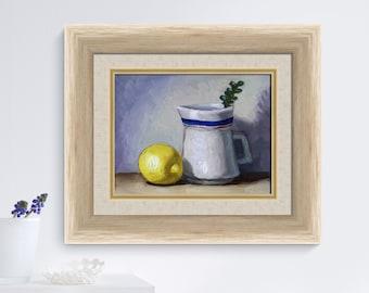 Original kitchen art, creamer and lemon still life painting, original fruit painting by Aleksey Vaynshteyn