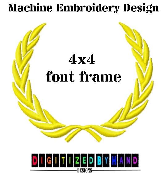 Embroidery font frame leaf wreath machine