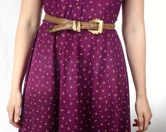 Vintage 80's does 1960's Purple printed V sleeveless Swing Dress