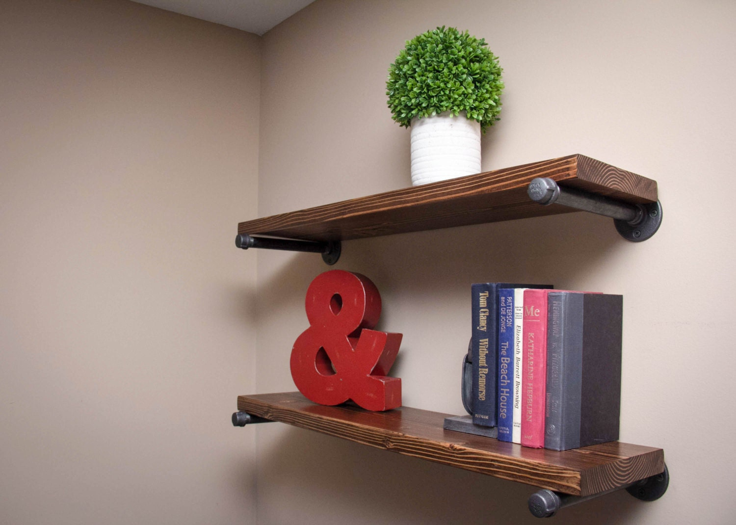 floating wood industrial pipe shelves set by bcindustrialtreasure. Black Bedroom Furniture Sets. Home Design Ideas