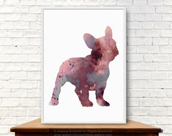 Aubergine French Bulldog Art Print Dog Watercolor Poster Home Decor