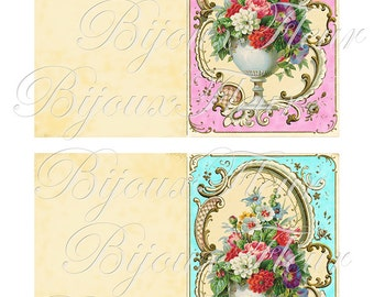"Vintage French Note Cards DIY Instant Download ""Royal Fleur"" no.100 Antique Wallpaper Collage Sheet Graphic PalaisFleurVintage"