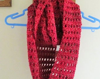 Crochet berry coloured infinity scarf