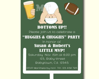 Huggies and Chuggies Baby Shower Invitation- Dad Diaper Party- Football Baby Shower- Diapers and Beer Baby Shower- Beer and Babies Shower