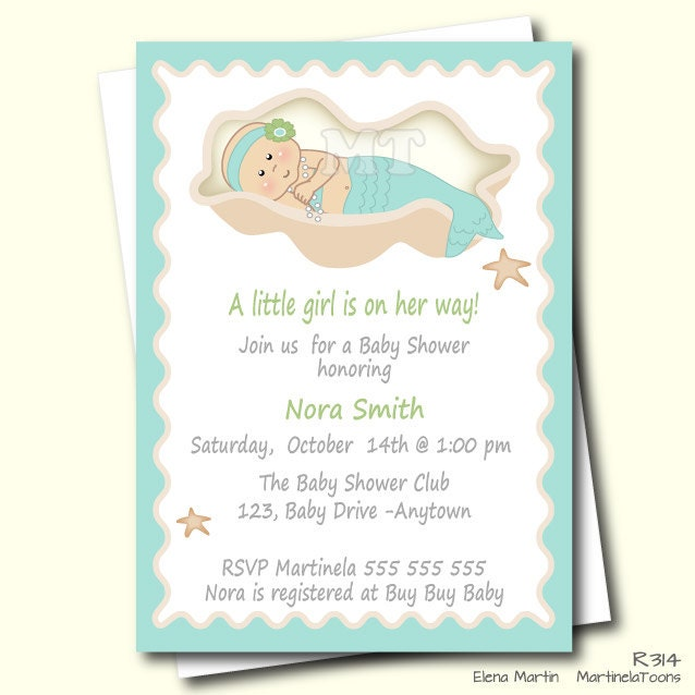 diy mermaid baby shower invitation aqua blue by martinelatoons