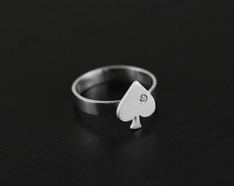 Tiny Spade Queen Open Ring Sterling Silver Open Ring Gold-plated Open Ring Adjustable Ring Lucky Ring