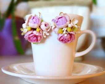 Peony And Lilac Earrings, Flower Earrings, Purple Earrings, Dangle Earrings, Bridesmaid Earrings,Wedding Earrings,Bridal Earrings IrynaFleur