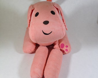 Meet Biscuit! Peach stuffed animal puppy, starburst accents, stuffed plush dog, recycled fabrics, snuggly, happy, cute, handmade