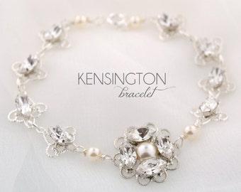 Wedding bracelet - bridal jewelry - bridal bracelet - wedding pearl bracelet - crystal pearl - rhinestone bracelet - Kensington bracelet