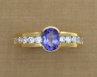 0.80 ct. Oval Tanzanite & 0.54 ct. Diamond Ring - Low Profile - 18K Yellow Gold - December Birthstone - Alternative Engagement Ring