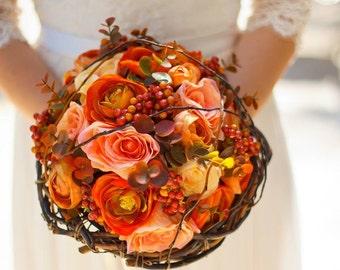 Sale 30% OFF! Bridal Bouquet matching groom boutonniere made Silk flowers orange color shades romantic bridal Bouquet groomsmen bridesmaid
