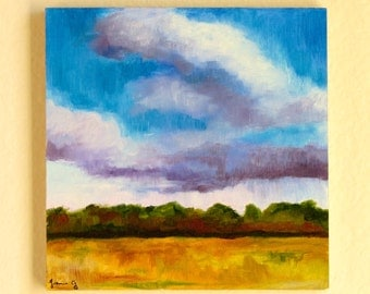 Original Oil Impressionist Landscape Cloudscape Painting of Golden Field and Sky