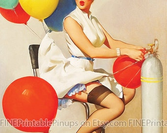 "Vintage Pinup Art Girl // Birthday Balloon Beauty by Gil Elvgren// 11""x14"" Printable Digital Download // Easy to Scale Down"