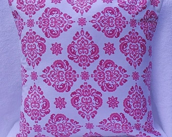 Hot Pink Print on White Decorator Pillow  Cover 14x14