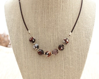 Agate 10mm faceted gemstone necklace with bali silver spacers and brown leather cord
