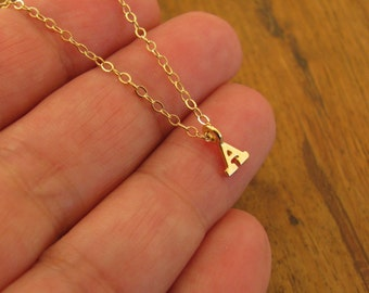 Initial Necklace, Personalized Initial necklace, Initial Gold Necklace, Gold filled Initial, Mini Initial Necklace, Monogram Gold Necklace
