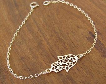 Gold bracelet, hamsa bracelet, gold filled 14k, luck bracelet, dainty bracelet, oriental bracelet, gold filled bracelet
