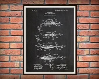 Patent 1907 Fish Bait - Fish Lure Patent - Art Print - Poster -  Man Cave - Fishing Camp Wall Art - Marina Art - Fishing Tackle