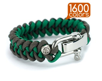 Two color paracord bracelet - 2 color paracord bracelet «SHARK» with real stainless steel buckle. Top quality, teg, box, 1600 colors!