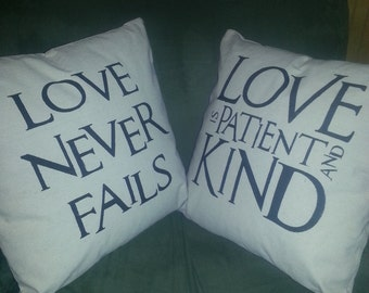"Love is patient and kind Decorative Throw Pillow | 14x14"" complete stuffed pillow 