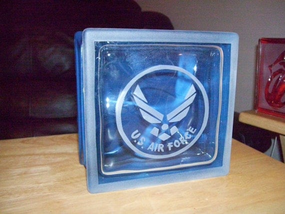 Us air force glass block decoration for Air force decoration