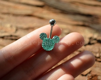 Light green mickey mouse Sparkling belly ring, blingbling belly button ring, Navel Piercing Ring Stud Piercing, belly jewelry