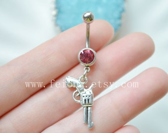 Silvery Pistol Charm Belly Button Ring, Navel Piercing, friendship belly rings ,Dangle Belly Ring , Belly Button Piercing