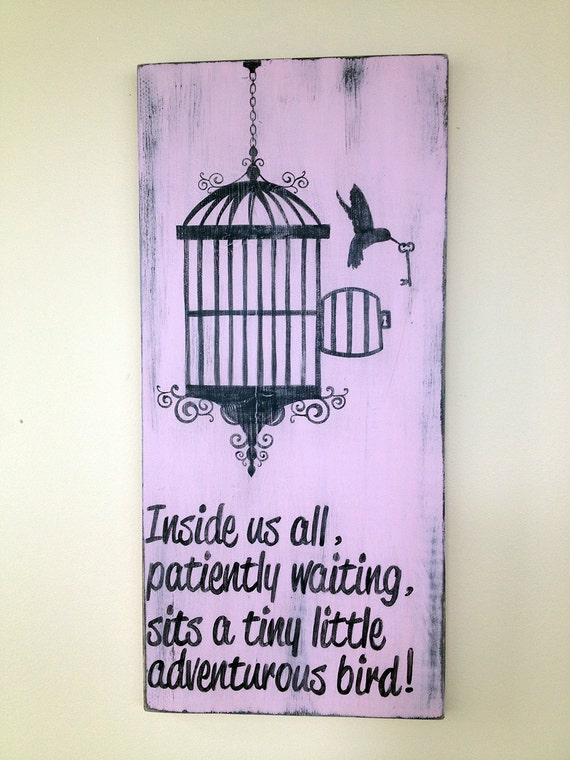 Wooden Birdhouse Wall Decor : Items similar to bird and cage wood sign wall decor