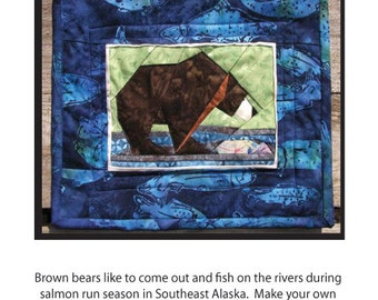 Fishing Bear  paper pieced quilt pattern