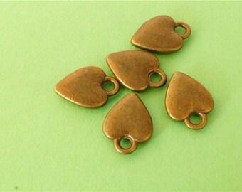 10 pcs of Antique Bronze Antique Bronze Heart Charms 11mm x 14mm
