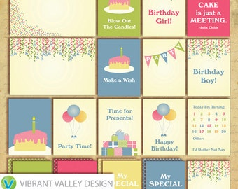 Birthday Journaling Cards, Project Life Inspired Printable JPEG, Digital Scrapbooking, Instant Download, happy, birthday, party
