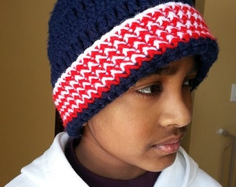 Red, White and Blue Crochet Baby Hat, Crochet Adult Hat, Crochet Hat for Boys, Crochet Hat for Girls