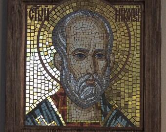 mosaic icon of  St. Nicholas