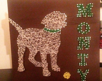 Dog Lover String Art, Dog Silhouette, custom made