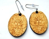 Lady Sea Temptress engraved wood earrings