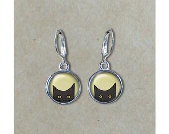 Peeking Cat Earrings, Black Peeking Cat Dangle Earrings