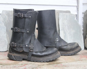 Vintage Swiss Military Leather Gaiters Spats / 1950's-70's / Black / *Steampunk*