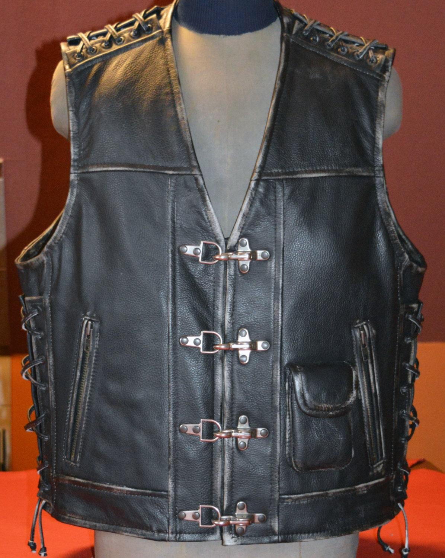 Mens Leather Handmade Biker Vest Unique Motorcycle Vest