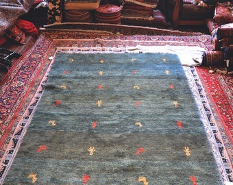 Vintage 5.8 x 8.5 Hand-Knotted Persian Rug  - orig. Gabbeh, Iran