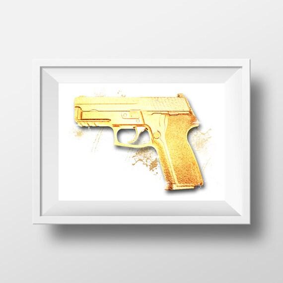 Gold Foil Gun Fashion Designer Wall Art Poster by